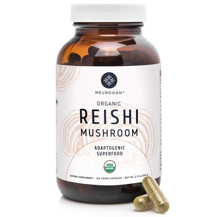 a container of Neurogan organic reishi mushroom capsules
