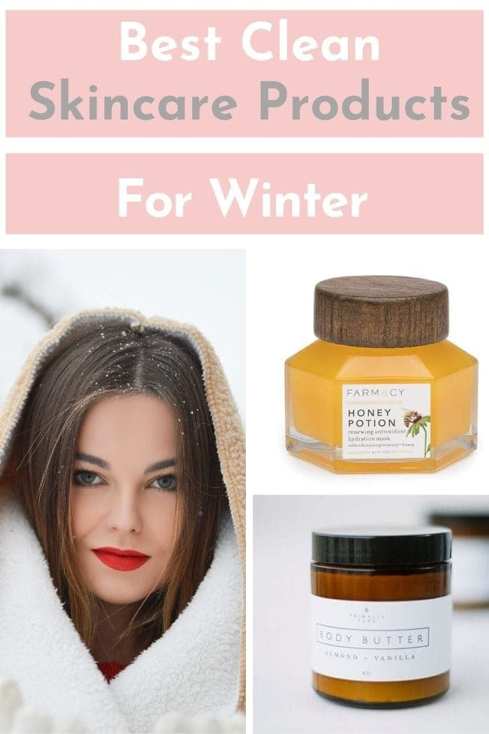 blog graphic depicting the best vegan clean skincare products for winter
