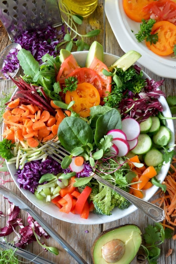 overhead shot of natural detox food arranged in a bowl