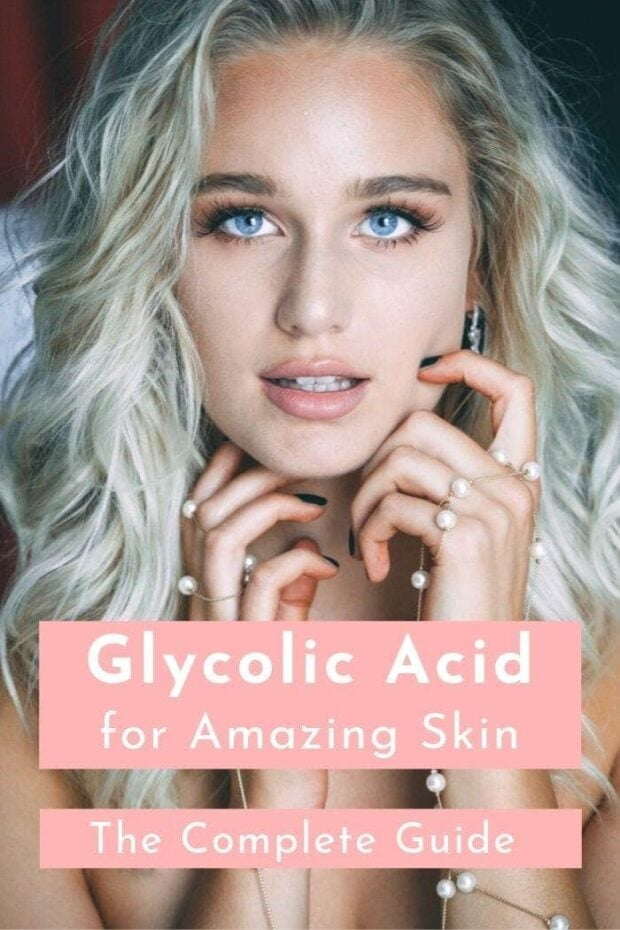"post graphic for article about glycolic acid depicting a blond woman with very clear skin and a text overlay saying ""glycolic acid for amazing skin - the ultimate guide"""