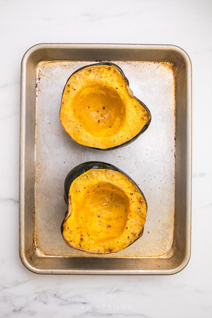 Acorn squash cut in half and roasted
