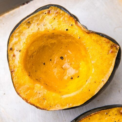 Close up of half a baked squash