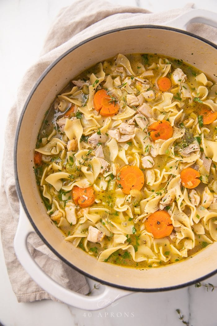 Leftover turkey soup in a dutch oven