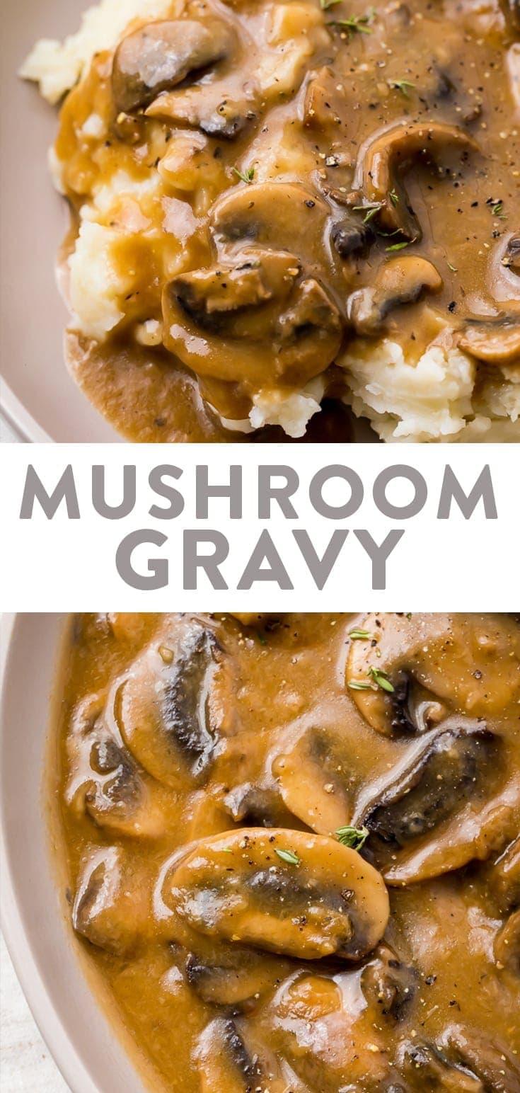 Mushroom gravy Pinterest graphic