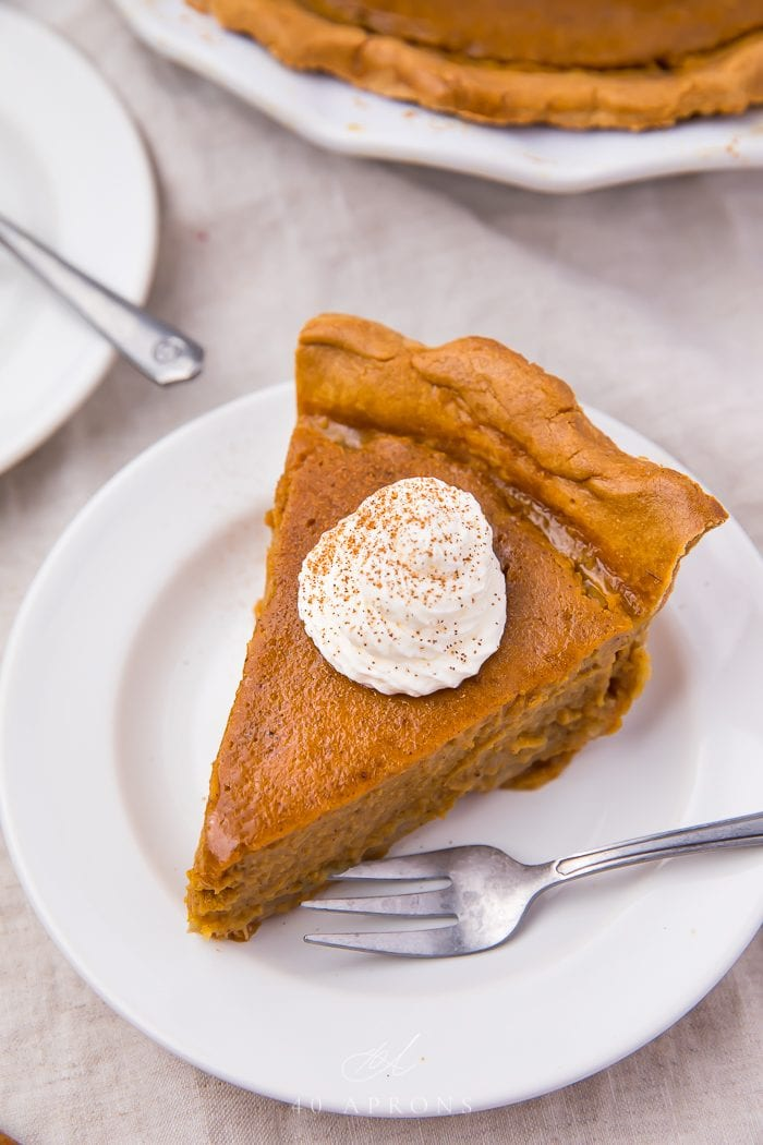 Paleo pumpkin pie served on a plate with a fork