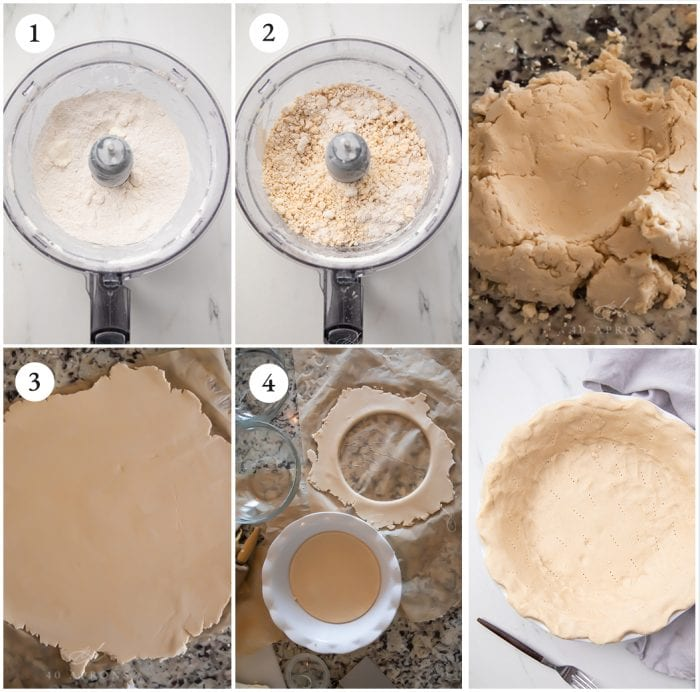 Process shots to show how to make the pie crust