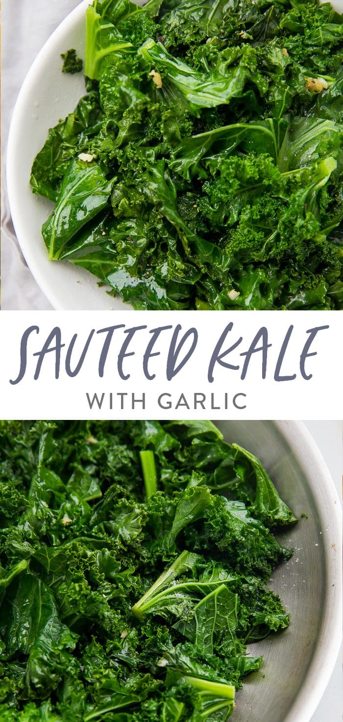Sauteed kale with garlic Pinterest graphic