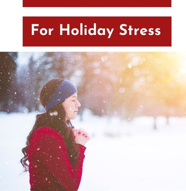 pinterest photo of lady meditating in the winter