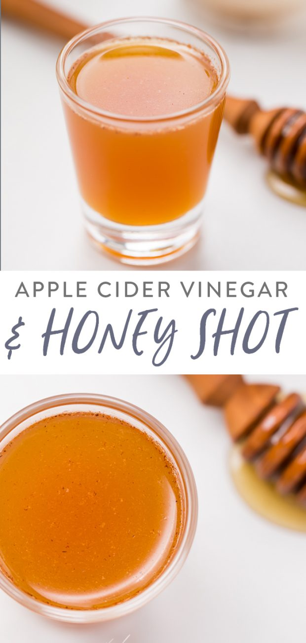 Apple cider vinegar and honey shot Pinterest graphic