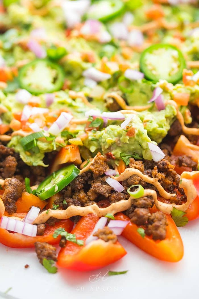 Close up of bell pepper nachos
