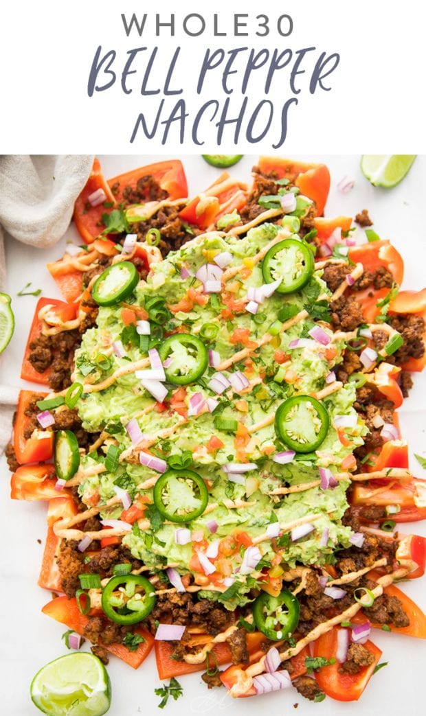 Bell Pepper Nachos (Whole30) Pinterest graphic