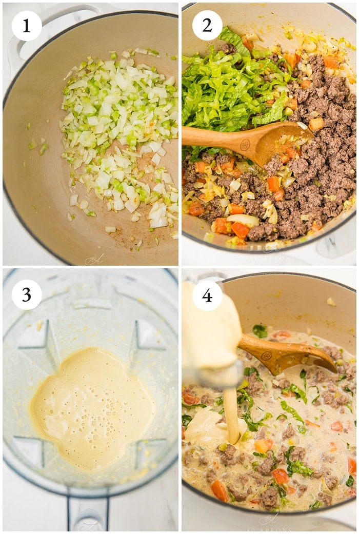 Four process shots to show how to make the soup