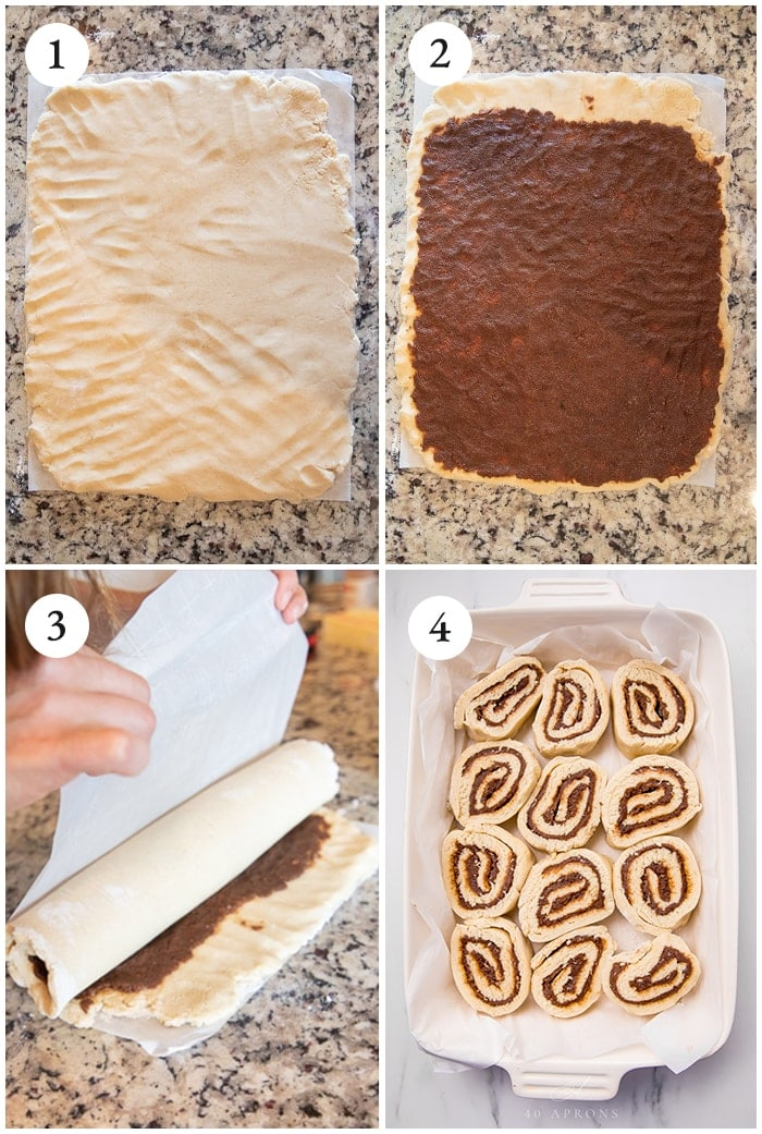 Four shots to show how to make the rolls