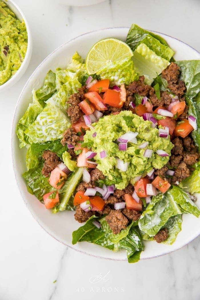 Healthy Taco Salad ready to eat