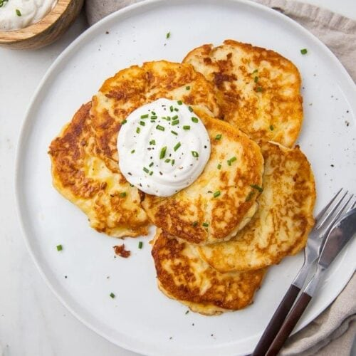 Leftover mashed potato pancakes served on a white plate