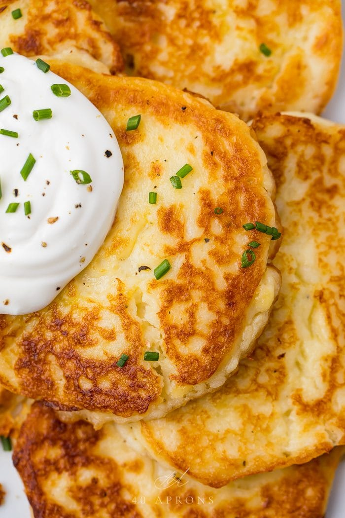 Close up of the leftover mashed potato pancakes
