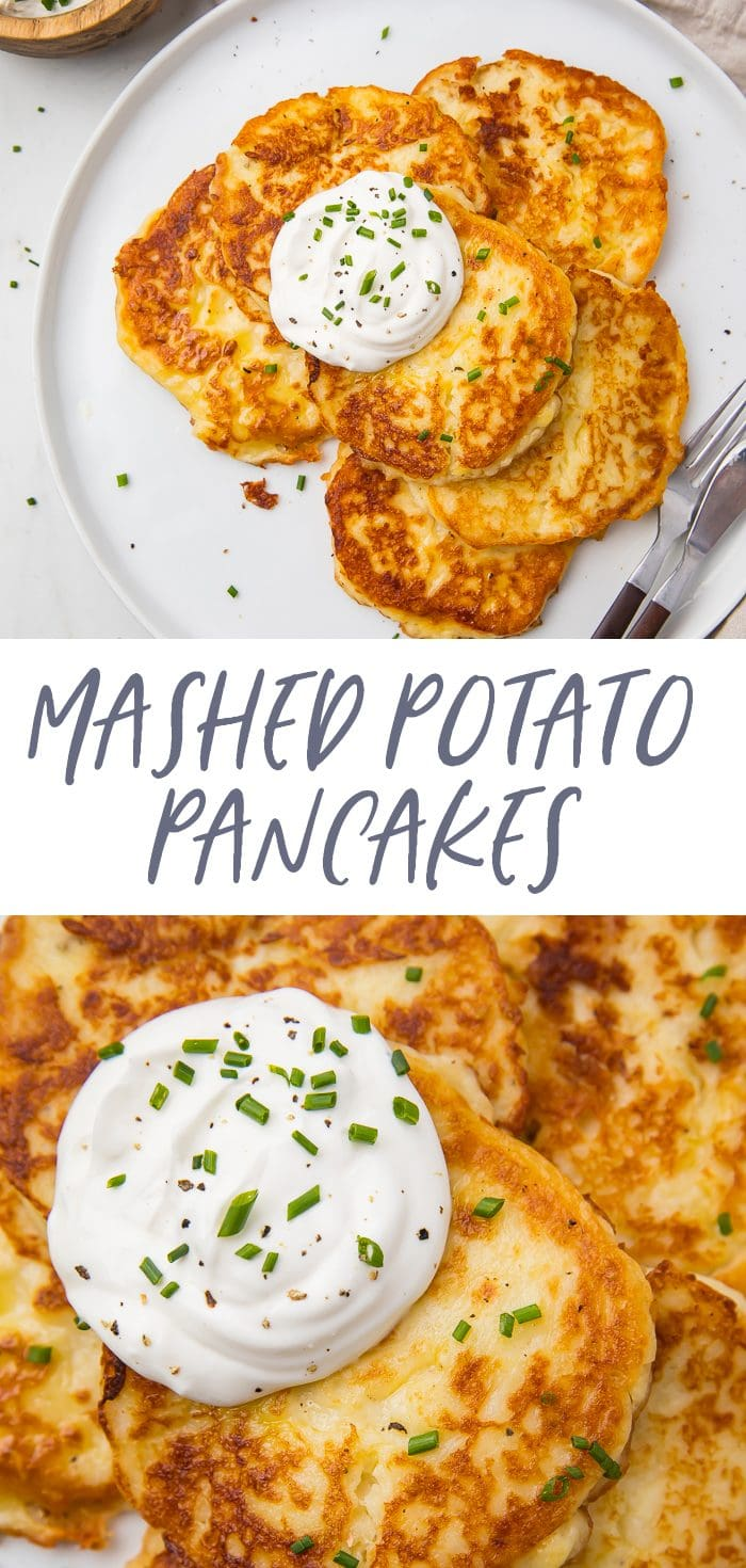 Leftover mashed potato pancakes recipe pinterest graphic
