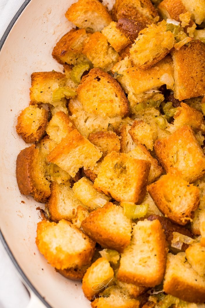 gluten free stuffing on a white plate