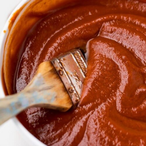 The whole30 bbq sauce in a white bowl