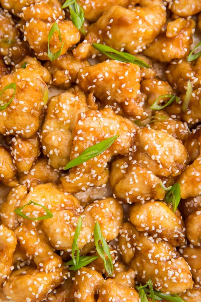 Close up of the cooked sesame chicken