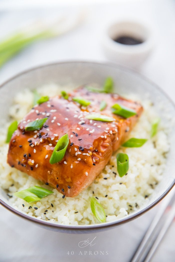 Teriyaki salmon garnished with sliced of green onion