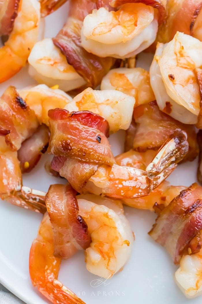 Close up of bacon wrapped shrimp