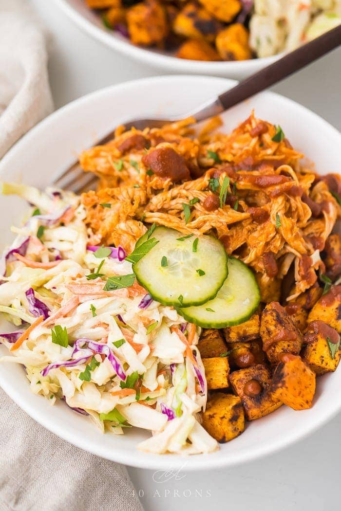 Bbq Chicken Bowls With Sweet Potatoes And Coleslaw Whole30 40