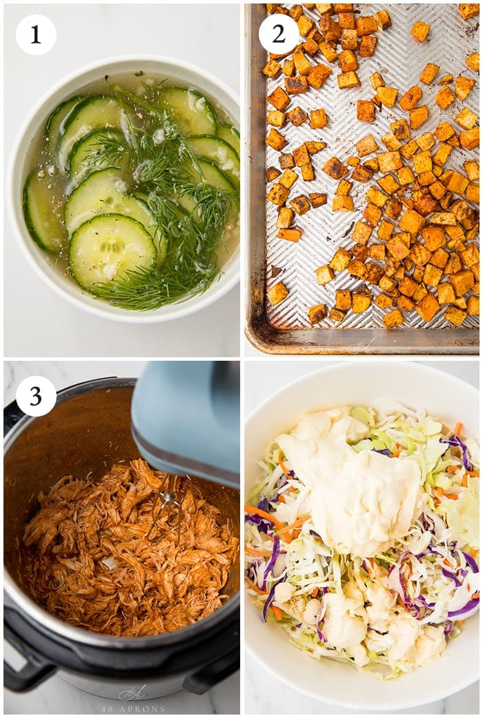 Instructions for making BBQ chicken bowls with sweet potatoes and coleslaw