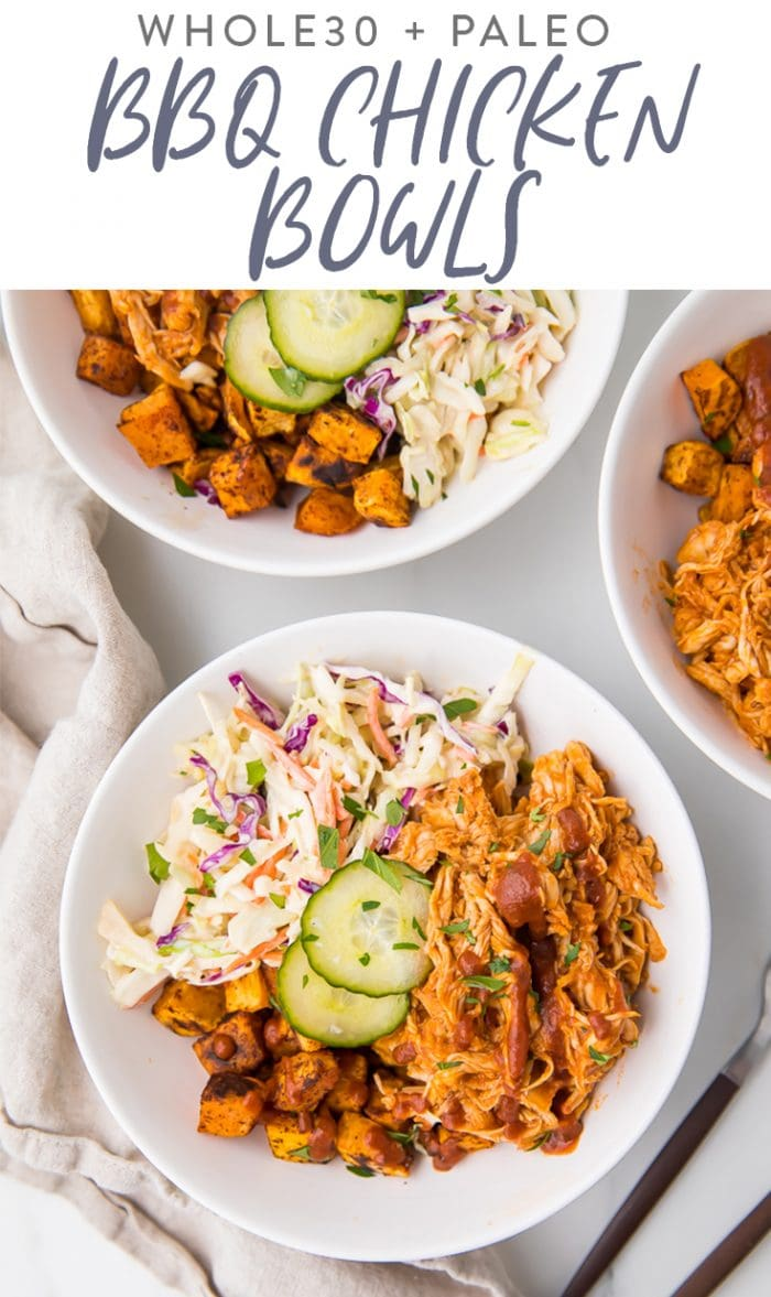 BBQ Chicken Bowls (Whole30, Paleo) Pinterest graphic