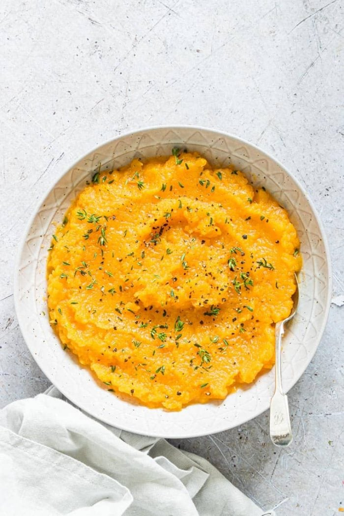 mashed butternut squash in a bowl