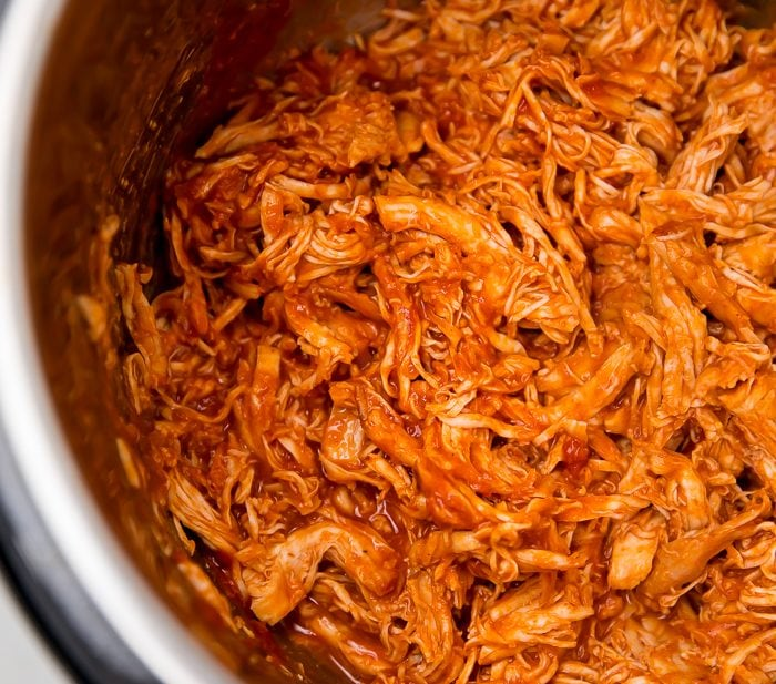 The shredded bbq chicken in an instant pot