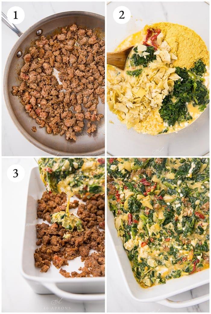 Four photographs to show how to make the recipe