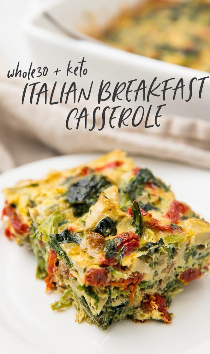 Italian Breakfast Casserole (Whole30 + Keto) Pinterest graphic