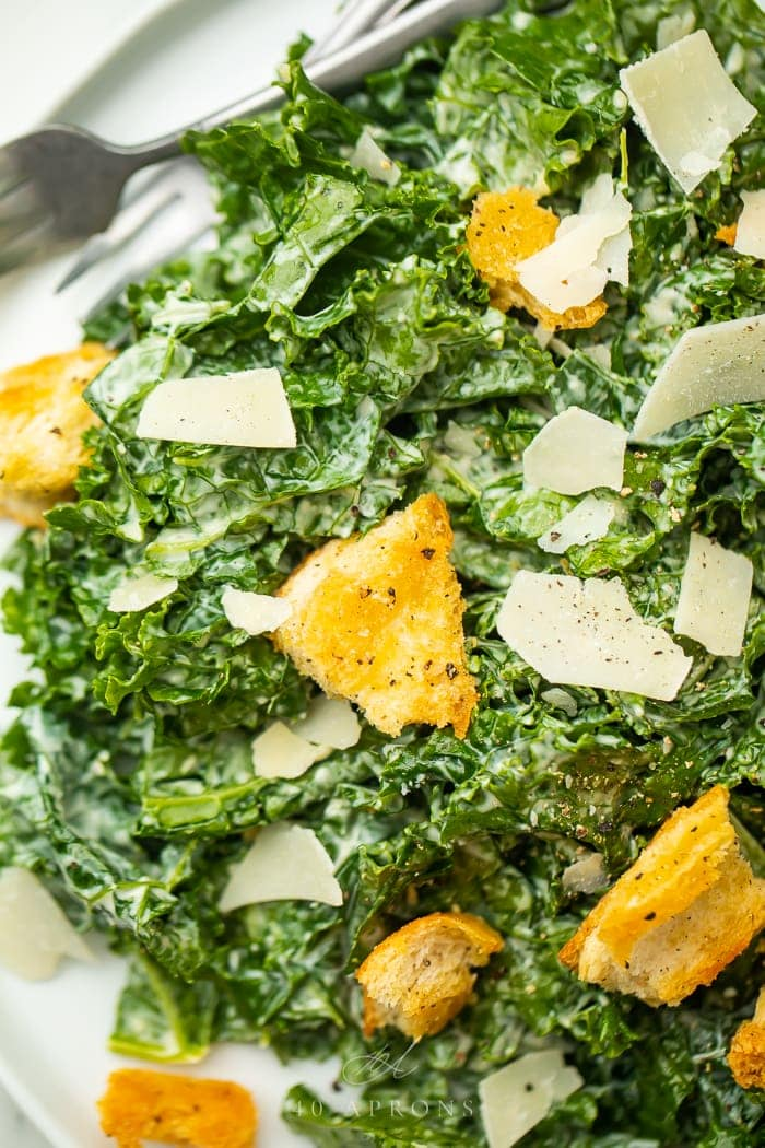 close up image of Kale Caesar Salad