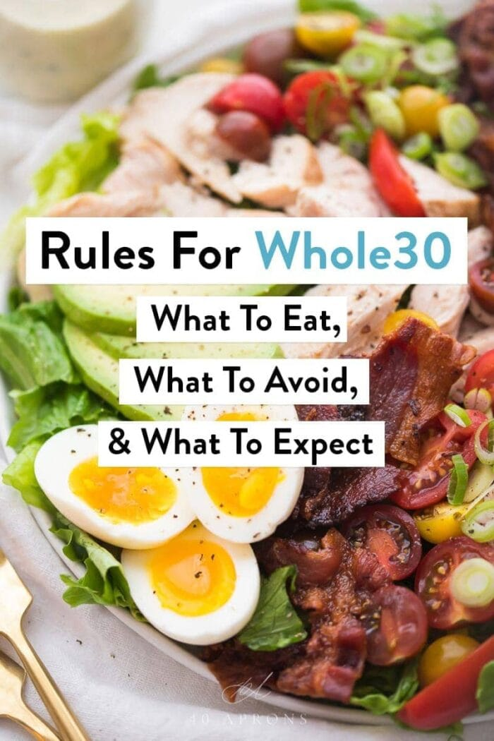 "Text ""Rules for Whole30"" and a salad"