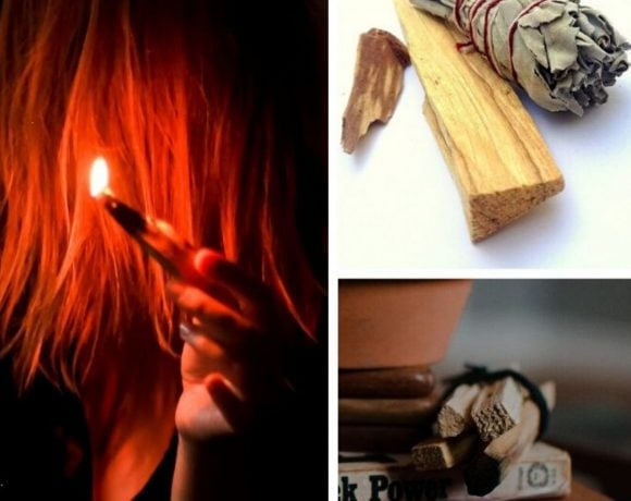 a picture collage of sticks of palo santo wood