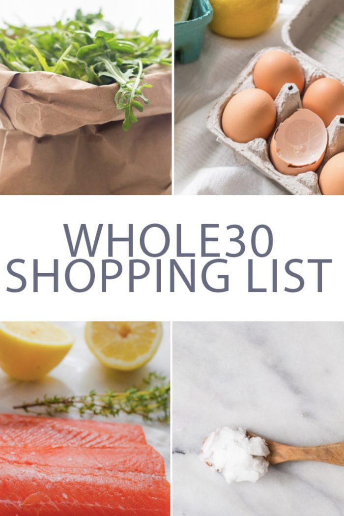 pinterest image for Whole30 shopping list