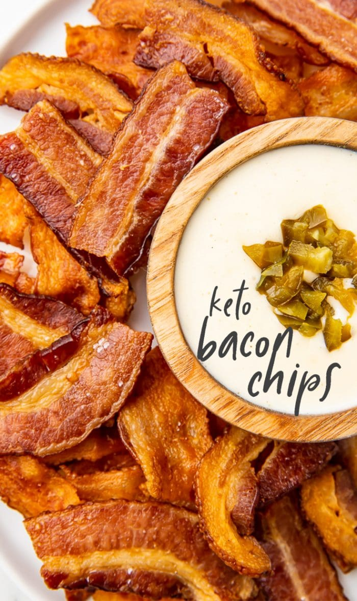 Keto Bacon Chips Pinterest graphic