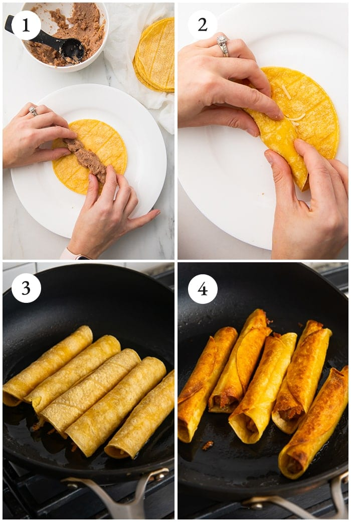 Instructions for 4 ingredient bean and cheese taquitos