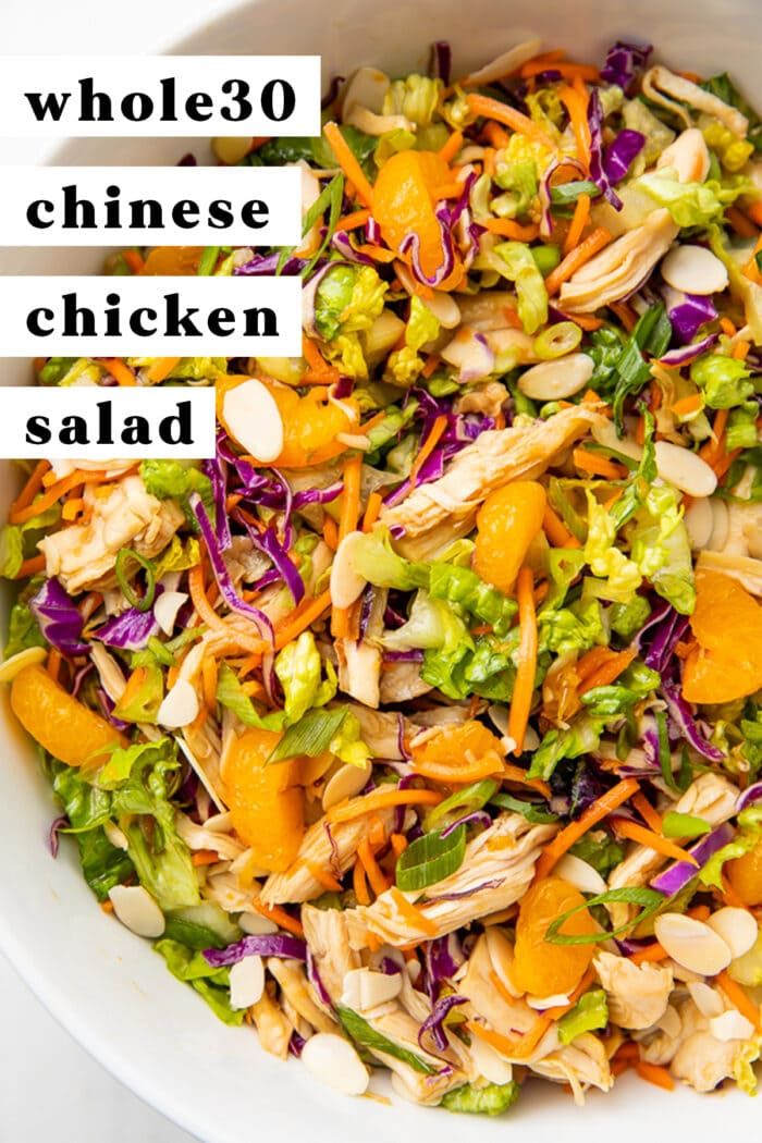 Pinterest graphic for whole30 chinese chicken salad