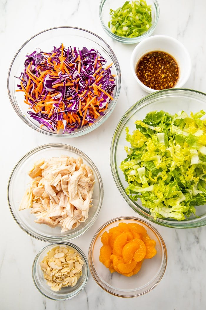Ingredients for Whole30 Chinese chicken salad