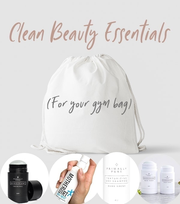 pinterest image of beauty products for clean gym bag