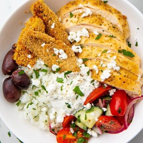 Loaded Greek chicken bowl