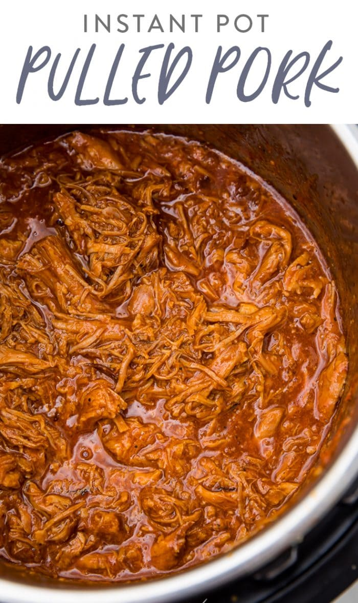 pinterest image of pulled pork made in the instant pot with barbecue sauce.