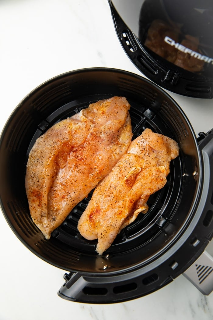 Chicken breasts in an air fryer