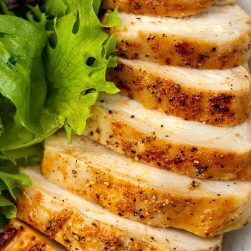 Close-up of air fryer chicken breast