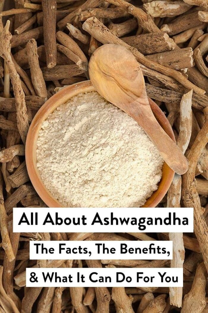 Ashwagandha roots and powder in a spoon
