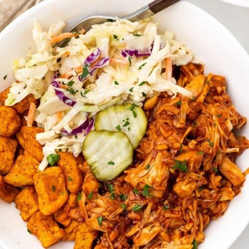BBQ jackfruit bowl with slaw and pickles
