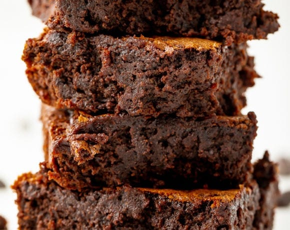 Stack of four delicious black bean brownies