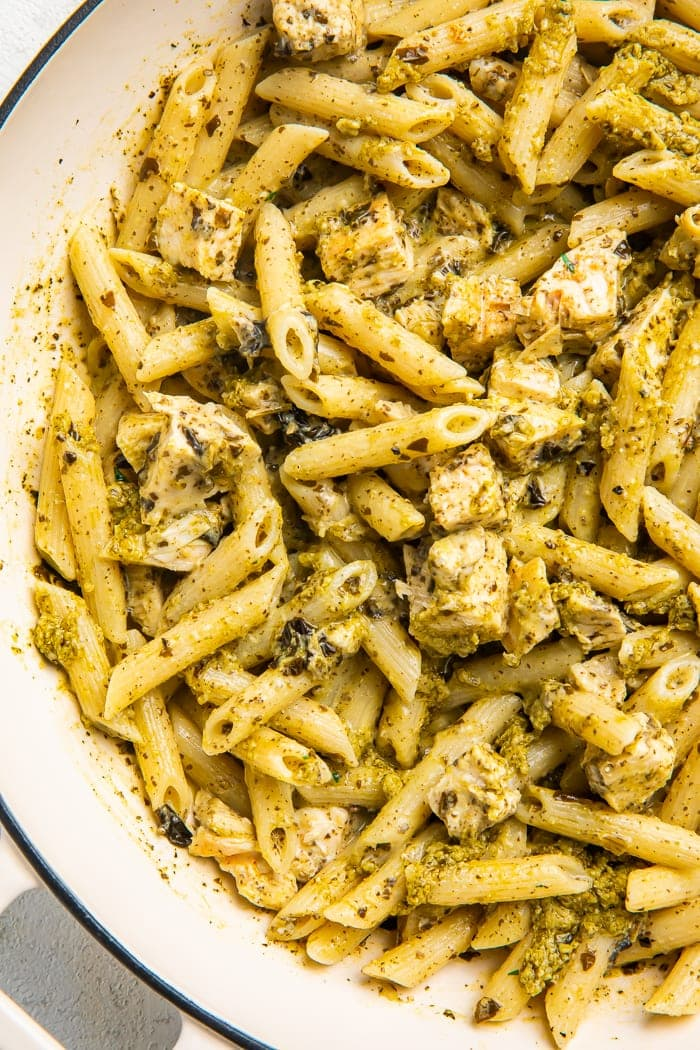 Close-up of chicken pesto pasta in a bowl
